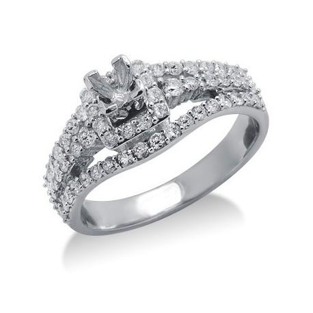 Diamond Semi Mount Ring Setting in White 14K Gold
