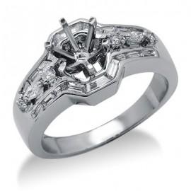 Kerek és Baguette gyémánt félig Mount gyűrű 18 K fehér arany
