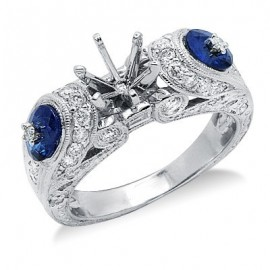 Sapphire Semi Mount Gemstone Ring in 18K White Gold