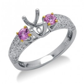 Pink Sapphire Semi Mount Gemstone Ring in 18K White Gold