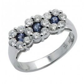 Sapphire Diamond Gemstone Three Stone Cluster Ring in White 18K Gold