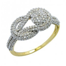 Yellow Gold Eternity Knot Pave Diamond Right Hand Ring