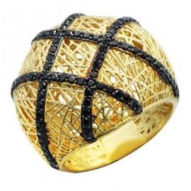 Yellow Gold Mesh Black Round Cut Diamond Ring