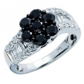 Flower Cluster White Gold Black and White Diamond Ring