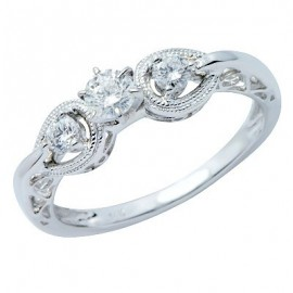 White Brilliant Round 3-Stone Diamond Promise Ring 14K Gold