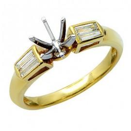 Stylish Baguette Diamond Semi Mount Ring 18K Yellow Gold