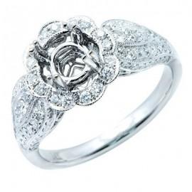Flower Brilliant Diamond Semi Mount Ring 14K White Gold