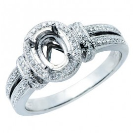 Victorian Brilliant Diamond Semi Mount Ring 14K White Gold