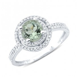 Solitaire Round Cut Prong Set Green Amethyst Diamond Gemstone Ring In 14K White Gold
