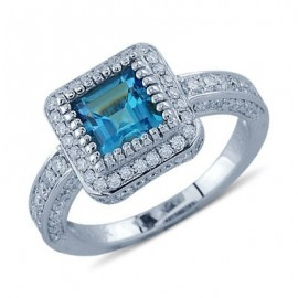 Bright Princess Cut Blue Topaz Pave Diamond Gemstone Ring In 14K White Gold
