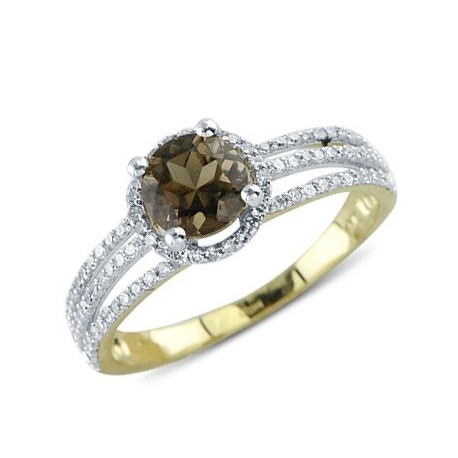 Solitaire Round Cut Prong Set Smokey Quartz Diamond Gemstone Ring in 14k Yellow Gold