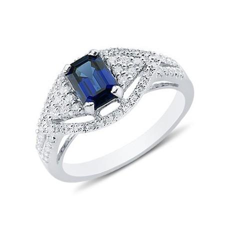 Enchanting Emerald Cut Sapphire Round Diamond Gemstone Ring In 14K White Gold