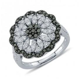 Sunburst White and Black Diamond Ring In 18K White Gold