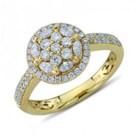 Kerek és Marquise vágott gyémánt fürt gyűrű 14 K sárga arany