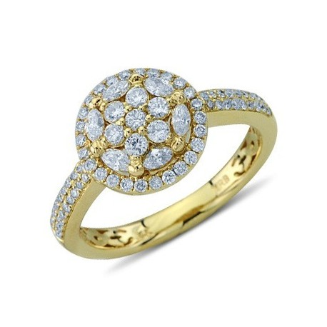 Round and Marquise Cut Diamond Cluster Ring In 14K Yellow Gold