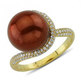 Floating Cooper Pearl Pave Set Diamond Gemstone Ring In 14K Yellow Gold