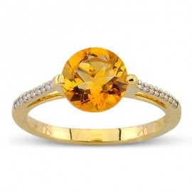 Fiery Round Cut Citrine Diamond Gemstone Ring In 14K Yellow Gold