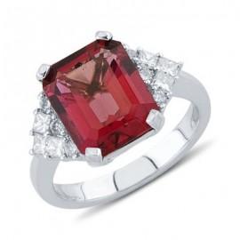 Vibrant Emerald Cut Pink Tourmaline Round Diamond Gemstone Ring In 18K White Gold