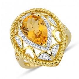 Fiery Checkerboard Cut Martini Set Citrine Dimond Gemstone Unique Pattern Ring In 14K Yellow Gold
