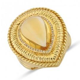 Spellbinding Designer Cut Citrine Round Diamond Large Gemstone Pear Shaped Ring In 14K Yellow Gold