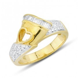 Lovely Round and Baguette Cut Diamond Open Heart Fashion Ring In 18K Yellow Gold