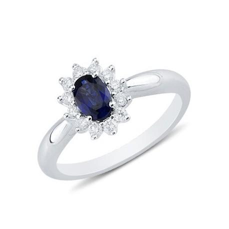 Oval Cut Sapphire Round Diamond Gemstone Ring In 14K White Gold