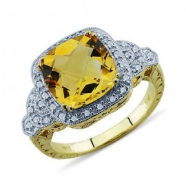 Fiery Checkerboard Cut Citrine Diamond Gemstone Ring In 14K Yellow Gold