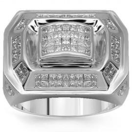 14 K fehér arany férfi Diamond Ring 2,39 Ctw