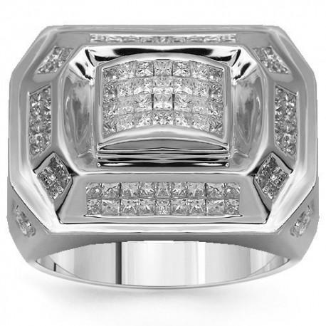 14K White Gold Mens Diamond Ring 2.39 Ctw