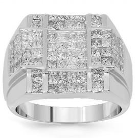 14 K fehér arany férfi Diamond Ring 3.70 Ctw