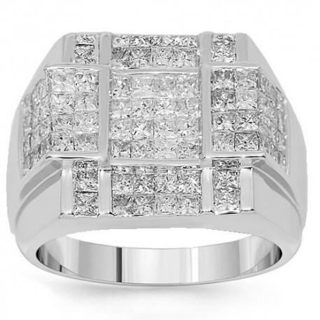 14K White Gold Mens Diamond Ring 3.70 Ctw