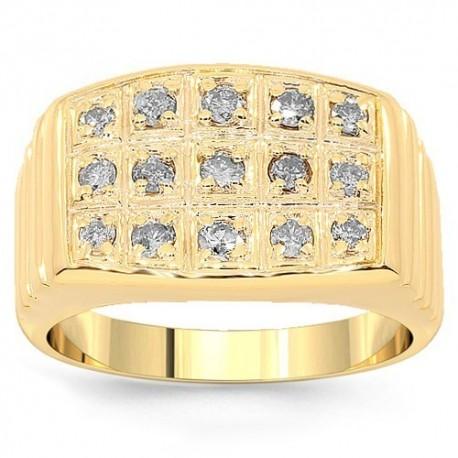 10K Yellow Gold Mens Diamond Pinky Ring 0.59 Ctw