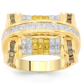 14K Yellow Gold Mens Diamond Ring with Yellow and Blue Diamonds 4.38 Ctw