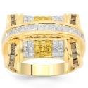14 K sárga arany férfi gyémánt gyűrű sárga és a kék gyémánt 4.38 Ctw