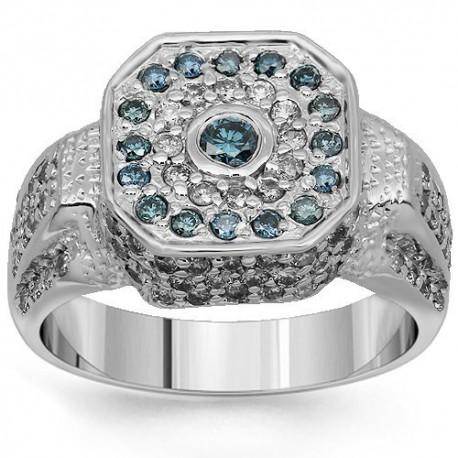 14K White Gold Mens Diamond Pinky Ring with Blue Diamonds 1.75 Ctw