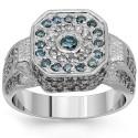 14 K fehér arany férfi Diamond Pinky Ring a kék gyémánt 1.75 Ctw
