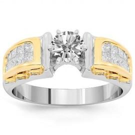 14K White Gold Diamond Engagement Ring 1.00 Ctw