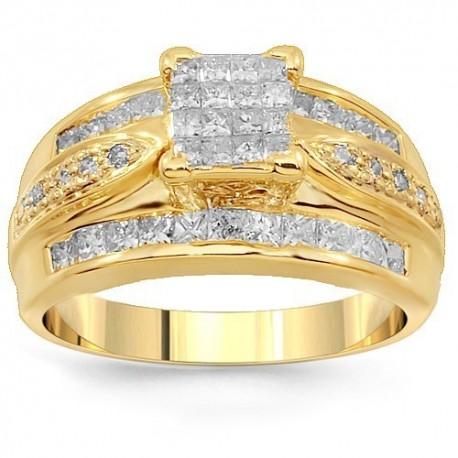 14K Yellow Gold Diamond Engagement Ring 1.51 Ctw
