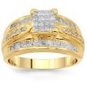 14 K sárga arany gyémánt eljegyzési gyűrű 1,51 Ctw