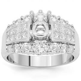 18 K fehér arany gyémánt eljegyzési gyűrű 1,71 Ctw beállítása