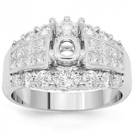 18K White Gold Diamond Engagement Ring Setting 1.71 Ctw