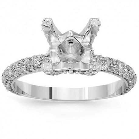 14K White Gold Diamond Engagement Ring Setting 1.03 Ctw