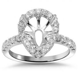 18K White Gold Diamond Engagement Ring Setting 0.78 Ctw