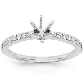 18K White Gold Diamond Engagement Ring Setting 0.50 Ctw