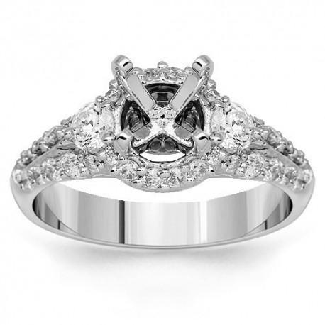 18K White Gold Diamond Engagement Ring Setting 0.85 Ctw