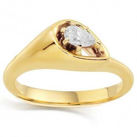 14K Yellow Gold Diamond Solitaire Engagement Ring 0.20 Ctw