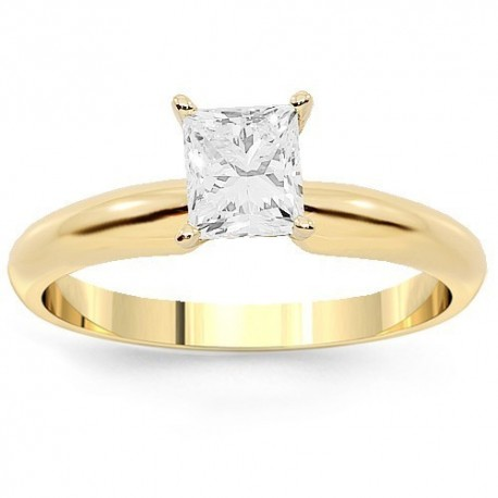 14K Yellow Gold Diamond Solitaire Engagement Ring 0.71 Ctw