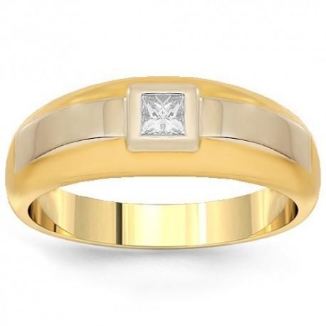 14K Yellow Gold Mens Diamond Solitaire Wedding Band 0.25 Ctw