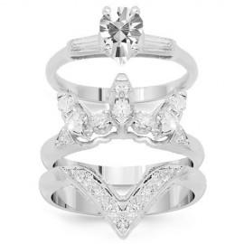 14K White Gold Diamond Bridal Ring Set 1.62 Ctw