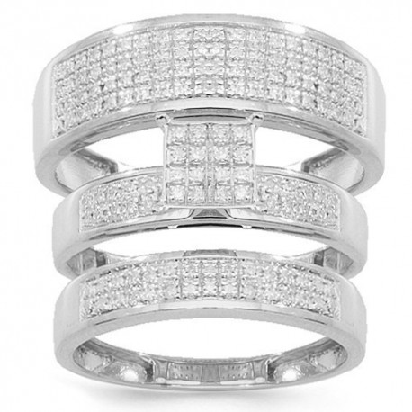10K White Gold Diamond Wedding Band Set 0.55 Ctw
